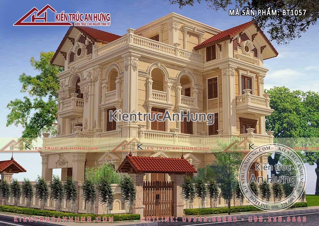 """Biệt thự cổ điển mái thái BT1057 với tông màu vào đậm chất """"hoàng gia"""""""