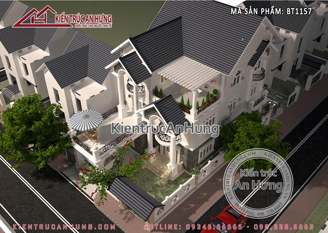 View toàn cảnh thiết kế nhà biệt thự 8x15m 3 tầng mái thái