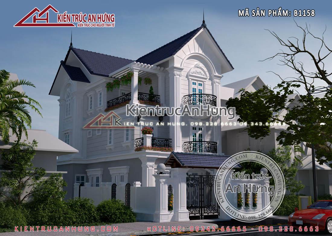 Thiết kế nhà biệt thự 8x15m tân cổ điển 3 tầng đẹp thanh lịch