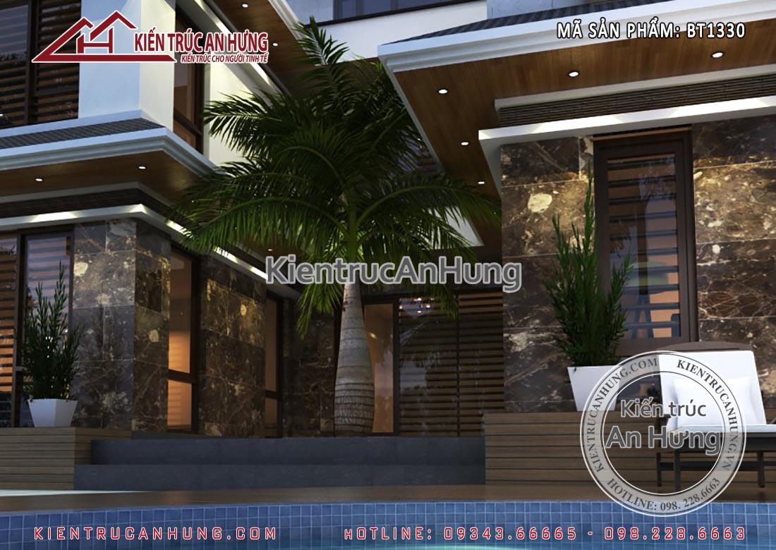 Vị trí bể bơi nên đặt ở nơi thuận tiện đi lại nhưng tránh đặt gần lối ra vào của ngôi nhà