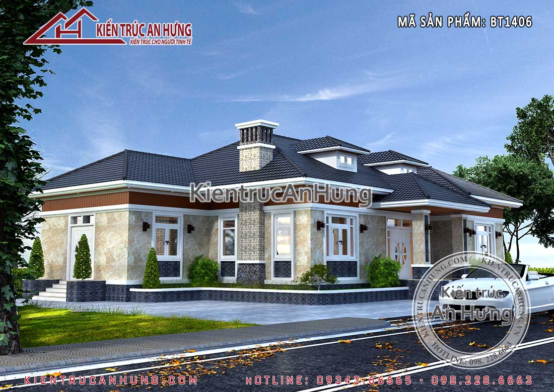 Mẫu biệt thự 1 tầng sở hữu 2 mặt tiền đẹp nhẹ nhàng, thanh thoát nhờ kết hợp hệ mái thái nhịp nhàng và mềm mại