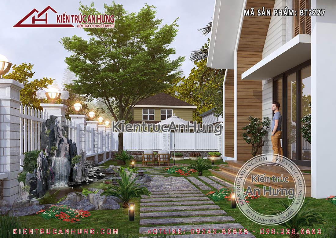 Biệt thự nhà vườn mái thái sở hữu không gian sân vườn xinh đẹp