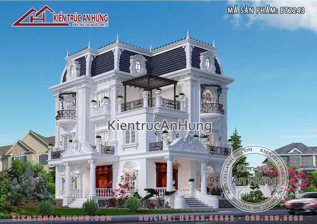 Biệt thự 3 tầng phong cách tân cổ điển sở hữu 2 mặt tiềnchuẩn mực trong từng đường nét toát lên vẻ đẹp tinh khôi, sang trọng và đẳng cấp