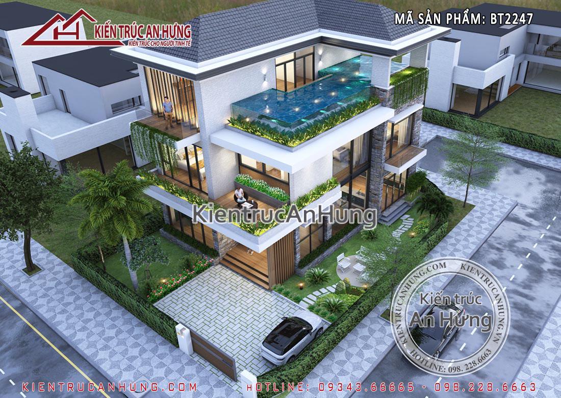 Thiết kế bể bơi trên mái của căn biệt thự nghỉ dưỡng gia đình anh Tùng - Hải Phòng