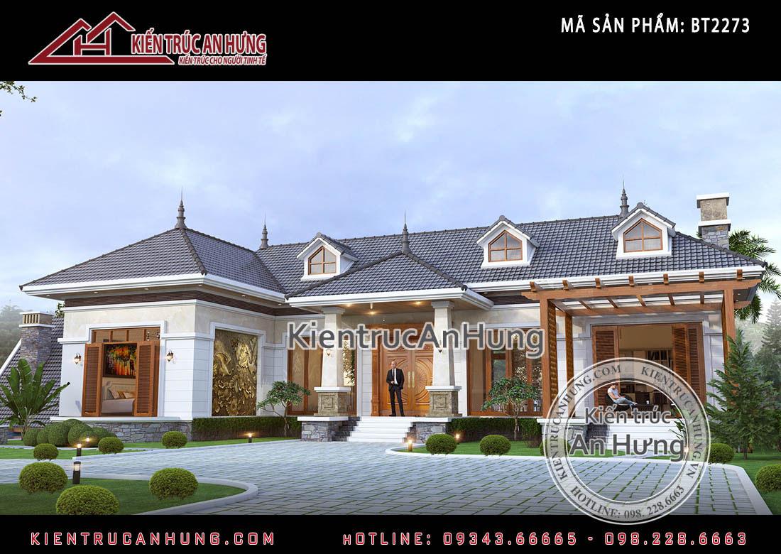 Thiết kế biệt thự hiện đại1 tầnggia đình anh Đông tại Hòa Lạc- Hà Nội