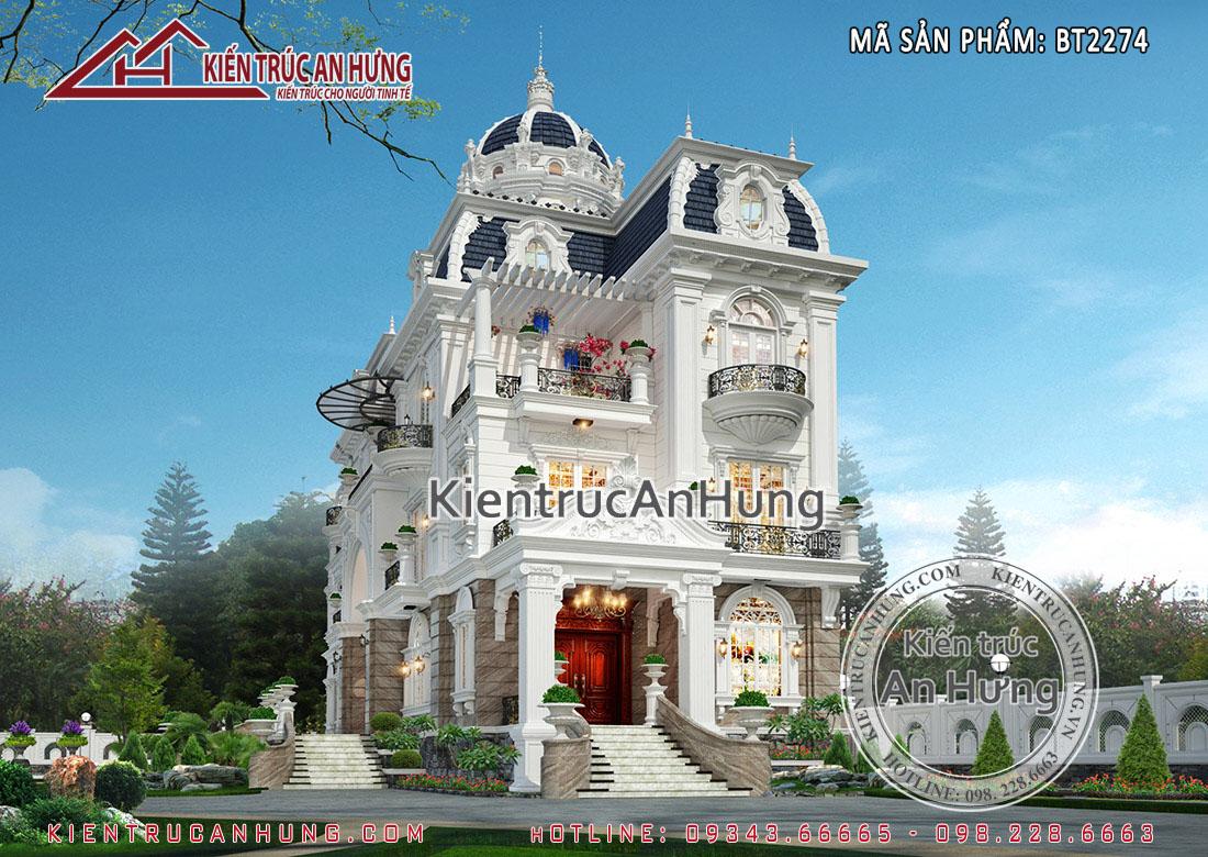 Thiết kế biệt thự lâu đài Phápvới mái vòm quyền lực