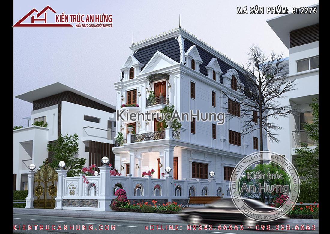 Mẫu biệt thự phố tân cổ điển 3 tầng + hầm - Chị Hòa - Long Biên - BT2276