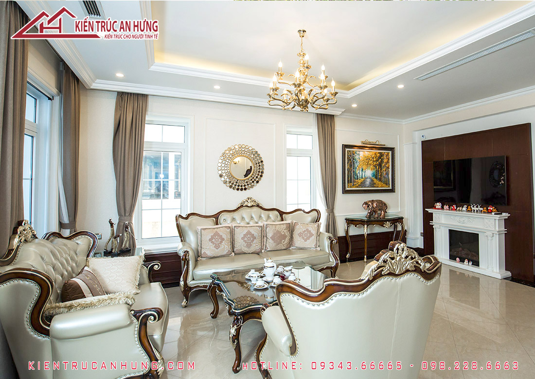 Không gian phòng khách tân cổ điển do Kiến trúc An Hưng thực hiện thi công hoàn thiện nội thất